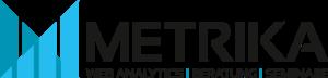 Metrika Logo, farbig, schwarze Schrift