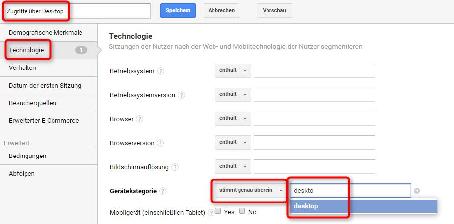 """Definition benutzerdefiniertes Segment """"Zugriffe über Desktop"""""""