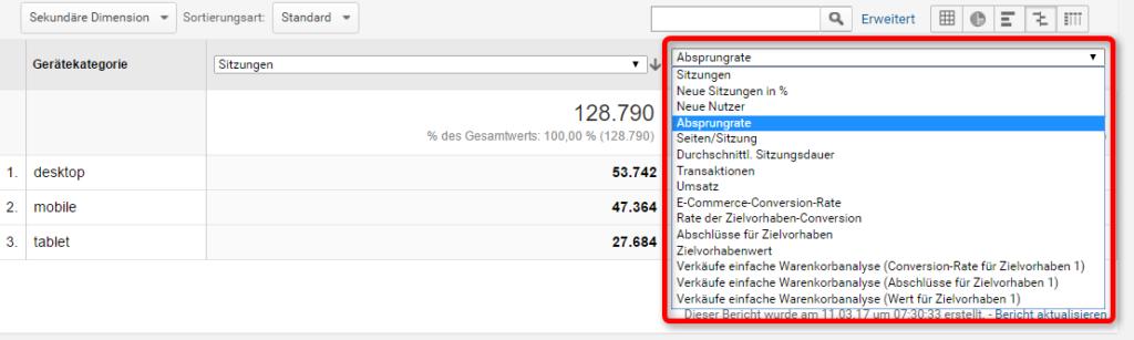 Auswahlfeld für Vergleichsmetrik in Google Analytics
