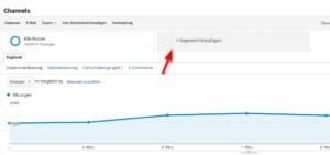 Auswahl benutzerdefinierter Segmente oberhalb des Google-Analytics-Berichts