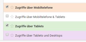 Benutzerdefinierte Segmente für Zugriffe über Mobiltelefone und Tablets