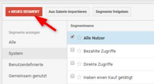 Button zum Anlegen eines neuen benutzerdefinierten Segments