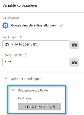 Google Analytics Einstellungen im Google Tag Manager