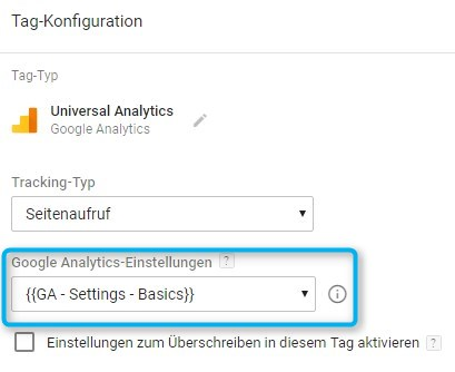 Standard-Pageview-Tag in Google Tag Manager mit gewähltem Basis-Setting