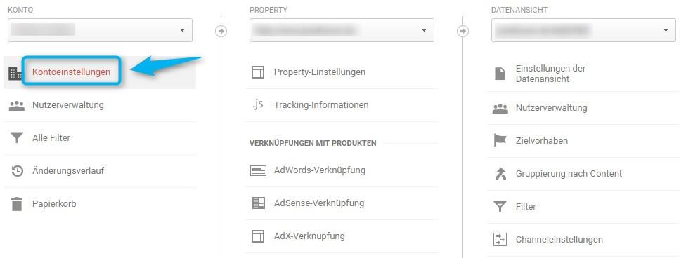 Verwaltung von Google Analytics, Auswahl Kontoeinstellungen