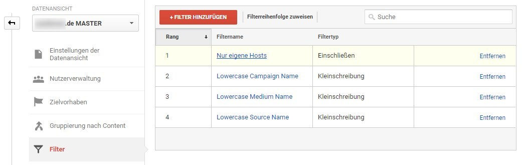 Filter-Übersicht in Google Analytics