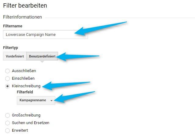 Einstellungen für Lowercase Kampagnenfilter in Google Analytics
