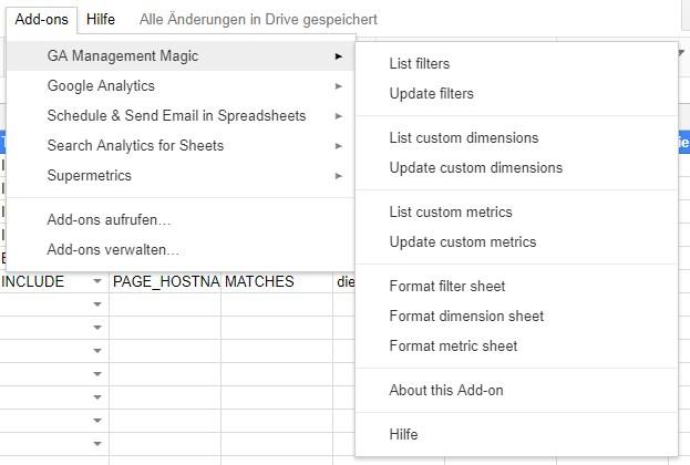 Menüpunkte von Google Analytics Management Magic