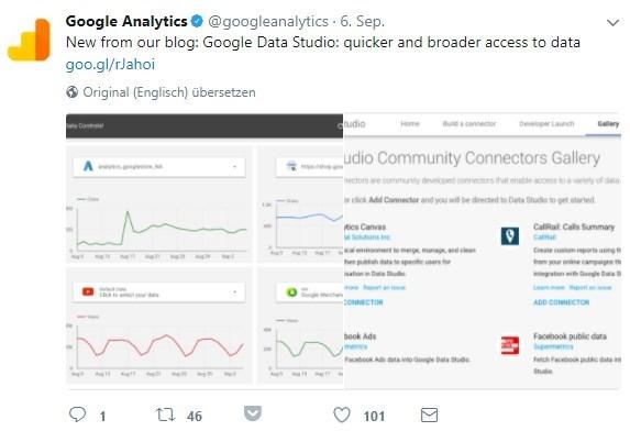 Tweet mit Ankündigung der Community Connectors