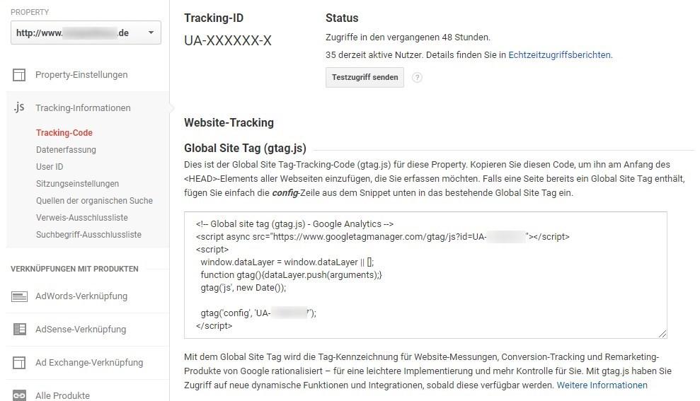 Der Code für das Global Site Tag