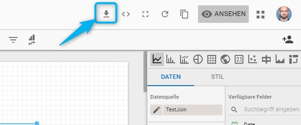 Download-Symbol im Header von Data Studio