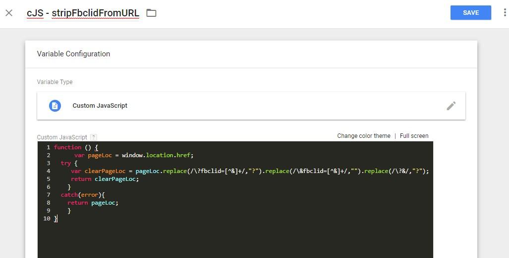 JavaScript Code zum Entfernen der Facebook Click ID (fbclid)