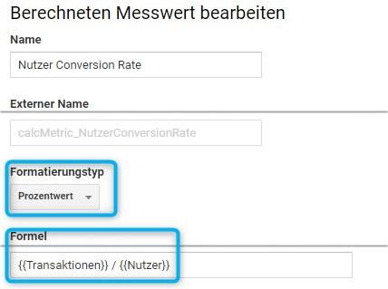 Die Nutzer-Conversion-Rate als berechnete Metrik in Google Analytics anlegen